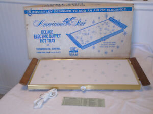 Rare Vtg Retro Starburst Electric Buffet Hot Tray New Box