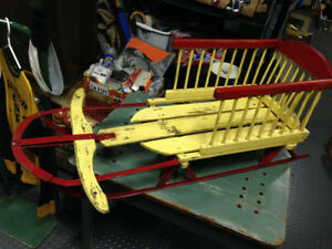 VINTAGE CHILD SLEIGH STEEL RUNNERS RED YELLOW