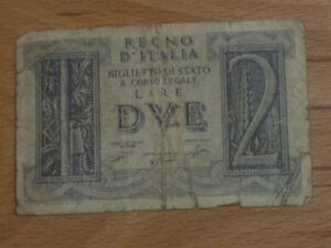 WAFER THIN OLD VINTAGE BANK NOTE from ITALY
