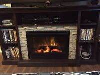 TV Stand with Log Firebox EUC