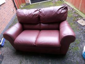 2 seater cherry faux leather sofa