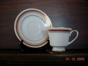 6 Cups and Saucers - Noritake - Doral Maroon #2992