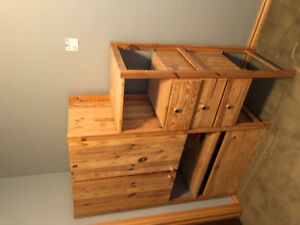 IKEA Ivar unit with cupboard, drawer unit, and toy box