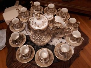 Capodimonte Expresso set coffeepot ,sugar, milk, 12 cups/saucers
