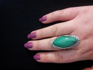 long turquoise gemstone ring size 7