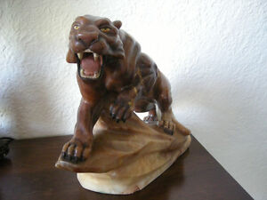 Late 20th Century Carved Alabaster Tiger NEW PRICE