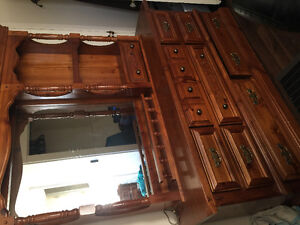 Antique solid wood dresser and mirror with light