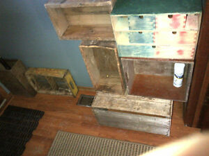 Crates and boxes, vintage and antique