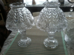 Set of 3 crystal candle holders 2 shown all same