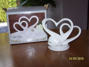 White Porcelain Heart Cake Topper