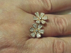 Ladies NVC Ring 925 Sterling Silver with 14K gold daisies size 9