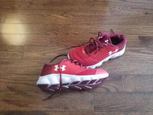Preschool red underarmour shoes