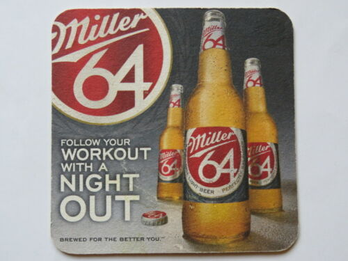 2012 Beer Bar Coaster ~ MILLER Brewing 64 ~ Follow Your Workout with A Night Out