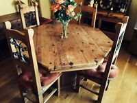 Octagonal Table with 6 chairs
