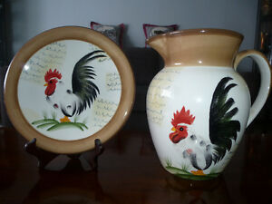 RARE ROOSTER COLLECTOR PLATE & MATCHING ROOSTER PITCHER