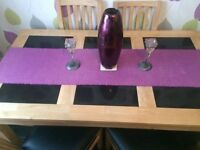 6 seater oak & granite dining table & chairs