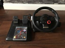 Logitech PS3 Steering Wheel + Game