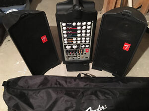 Fender Passport 250 PA system with 2 speaker stands