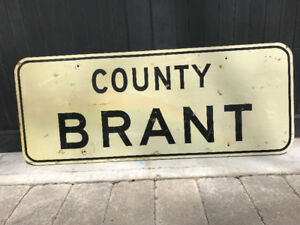 VINTAGE HAND PAINTED WOOD SIGN - BRANT COUNTY - 5 FT X 2 FT
