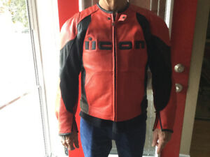 Red and Black Leather Bike Jacket