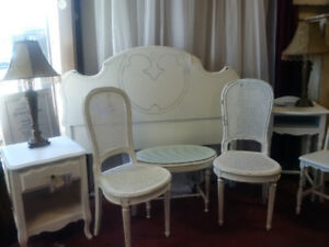 White Sale, Headboard, night stand, end table, chairs, small des