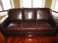 Sofa, loveseat & chair - dark brown