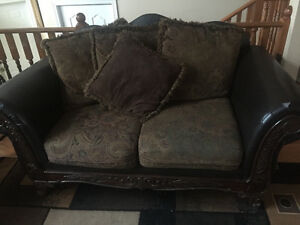 2 brown love seats set