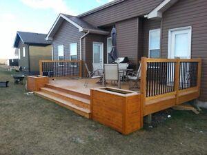 Fence deck railing