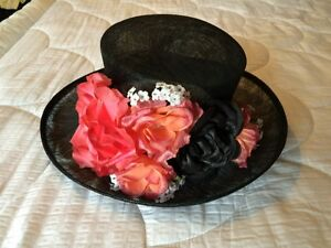 Black straw hat with floral accents