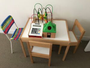 Toy Cash register, Mula bead roller coaster, Mula shape sorter