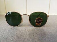Ray Ban Round Metal Sunglasses RB3447 (gold frame/dark green lens)