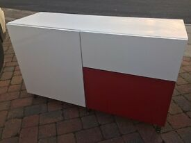 MODERN HIGH GLOSS TV CABINET/SIDEBOARD WITH MATCHING WHITE TABLE BOTH WITH CHROME LEGS - A BARGAIN !