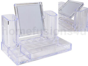 COSMETIC MAKEUP ORGANISER CLEAR ACRYLIC LIPSTICK NAIL VARNISH RACK WITH MIRROR