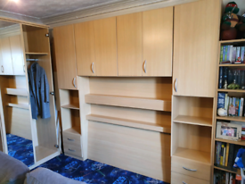 Wardrobe, Drawers and Overbed Unit