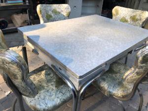 Retro grey and light green table set.