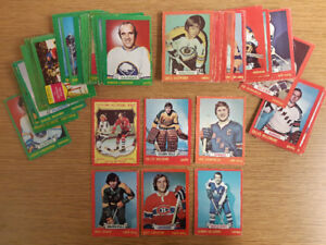 69 different cards from the 1973-74 O-pee-chee hockey card set