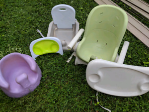 Baby high chairs, bumble toys and books. Best offer.