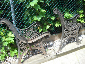 CAST IRON BENCH ENDS  GREAT PATINA