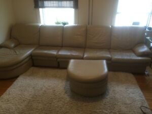 Leather sectional couch / sofa and chair