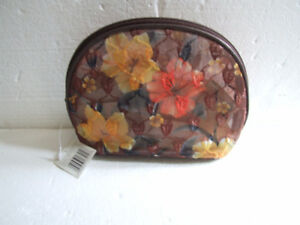 Women's brown floral net makeup pouch bag purse NEW
