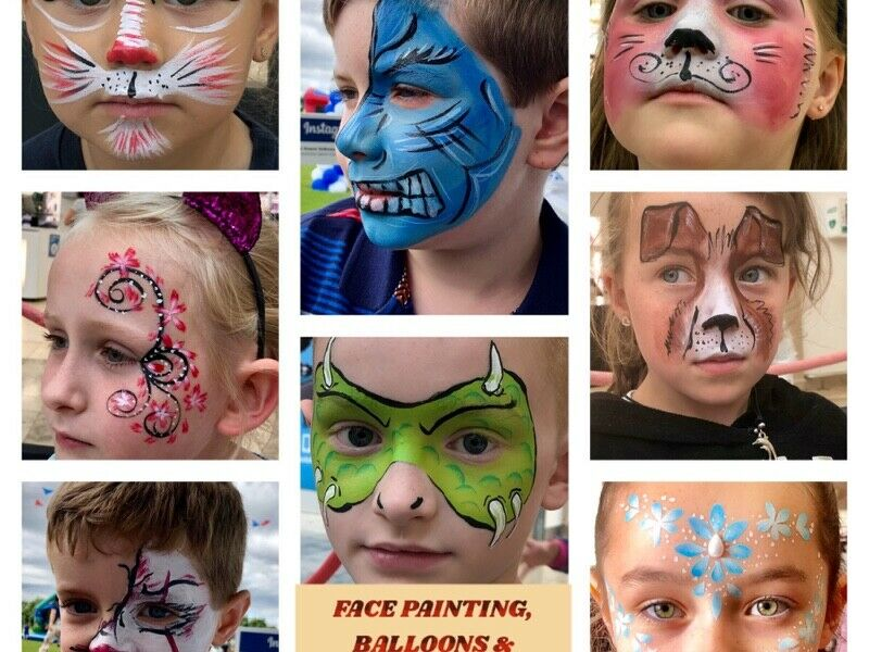 FACEPAINTING,BALLOONS AND GLITTER TATTOOS