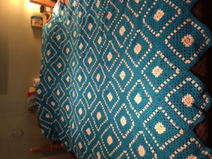 If reading available. Handmade crocheted queen sized afghan