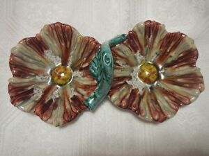 Italian Majolica Hand Painted Pottery 2 Section Condiment Plate