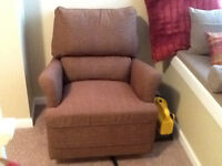 TWO RUST COLOR CLOTH SWIVEL CHAIRS