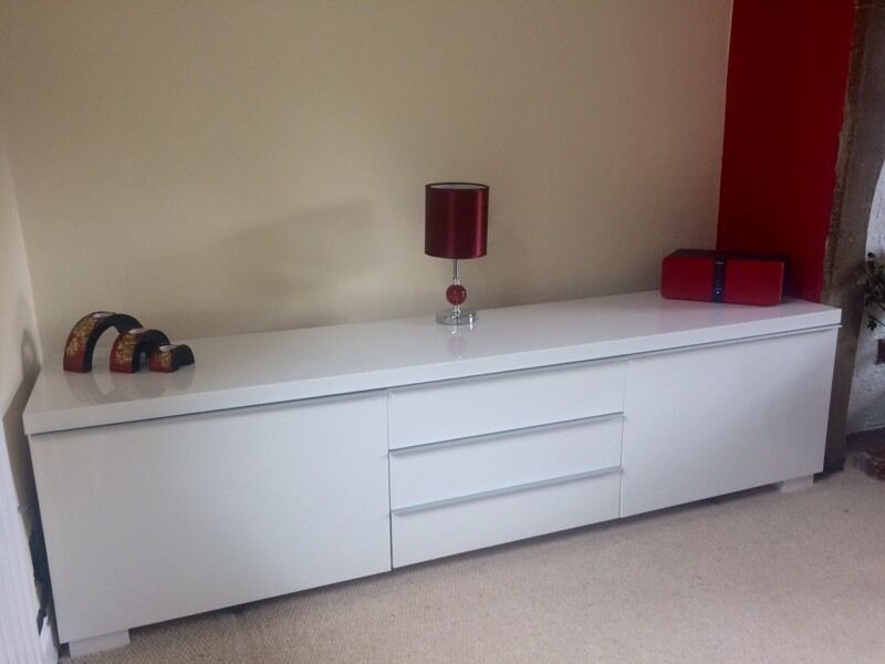 Ikea tv stand high gloss white 180x41x49cm in for White gloss sideboards at ikea