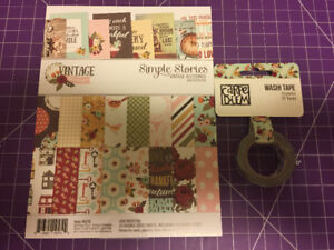 Scrapbook Paper Pad and Washi Tape