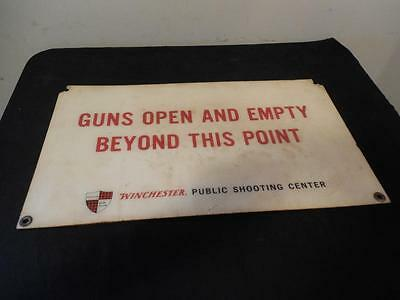 """Vintage Winchester Gun Club Public Shooting Center Sign 22"""" by 12 1/2"""" 50s ?"""