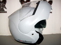 ZEUS Gloss White With Retractable Sun Lens, Modular Helmets.