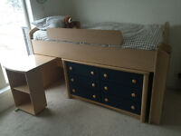 Twin Child bed - loft style with shelving