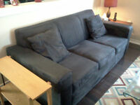 Micro Suede Couch, Black $175 OBO
